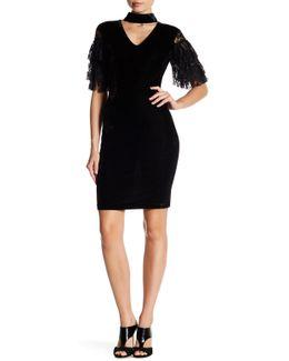 Tiered Lace Sleeve Velvet Sheath Dress