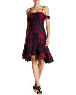 Cold Shoulder Flounce Hem Lace Dress