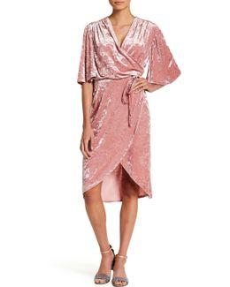 Flutter Sleeve Velvet Wrap Dress