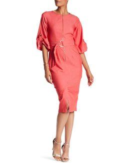 Front Zip 3/4 Sleeve Waist Tie Dress