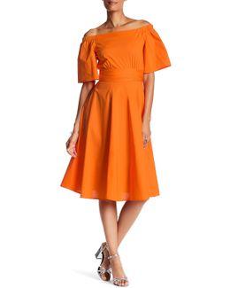 Off-the-shoulder Solid Dress