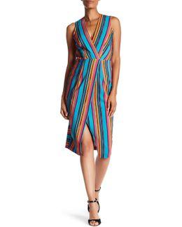 V-neck Stripe Sleeveless Dress