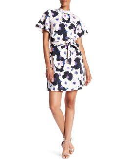 3/4 Sleeve Print Waist Tie Dress