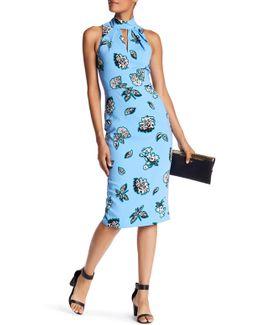 High Neck Sleeveless Front Slit Print Dress