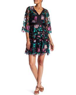 Split V-neck Floral Embroidered Dress