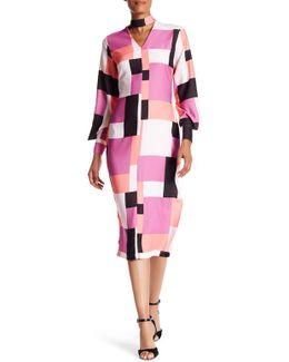 V-neck Long Sleeve Front Cutout Print Dress