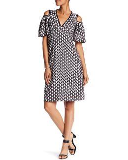 V-neck Cold Shoulder Geometric Print Dress