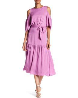 Cold Shoulder Waist Tie Dress