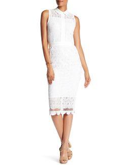 Point Collar Sleeveless Crochet Lace Pencil Dress