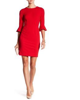 Ruffle Cuff Sheath Dress