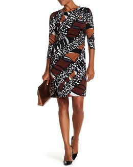 3/4 Length Sleeve Printed Ruched Dress
