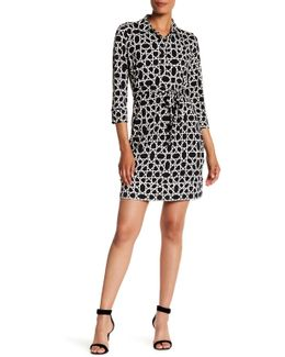 Printed Spread Collar Jersey Shirt Dress
