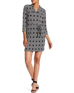 Printed Split Neck Jersey Shirt Dress