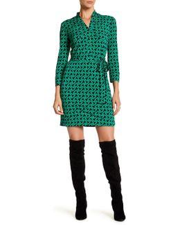3/4 Length Printed Jersey Shirt Dress