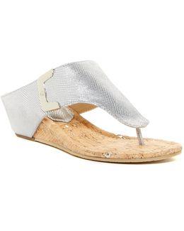 Dart Wedge Reptile-embossed Sandal