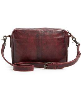 'melissa' Leather Camera Crossbody Bag - Burgundy