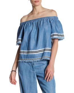 Off-the-shoulder Chambray Striped Blouse