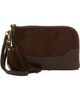 Paige Leather & Suede Wristlet