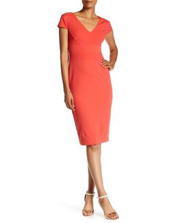 Cap Sleeve Fitted Crepe Sheath Dress