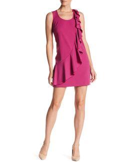 Sleeveless Ruffled Crepe Shift Dress