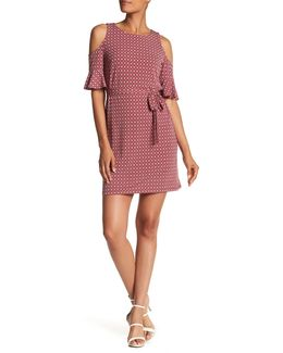 Cold Shoulder Print Henley Shift Dress