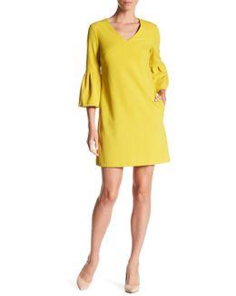 3/4 Length Bell Sleeve V-neck Shift Dress