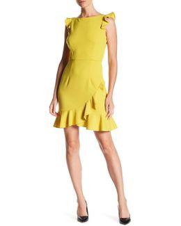 Ruffled Bateau Crepe Dress