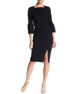 3/4 Bell Sleeve Crepe Bodycon Dress