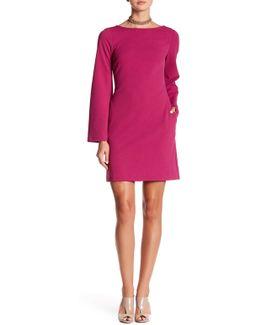 Long Split Sleeve Solid Dress