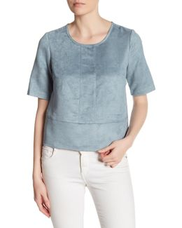 Seamed Faux Suede Boxy Shirt