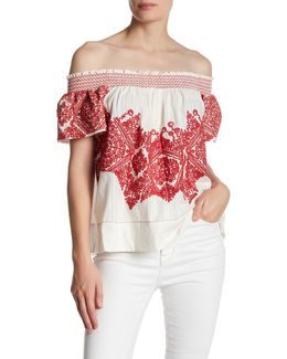 Embroidered Knit Blouse