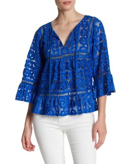 3/4 Bell Sleeve Lace Blouse