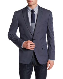 Peak Lapel Two Button Solid Navy Jacket