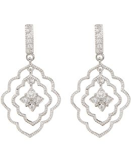 Sterling Silver Swarovski Crystal Accented Flower Three Layer Cutout Earrings