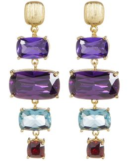 Gold Plated Sterling Silver Prong Set Multicolored Cz Ladder Earrings