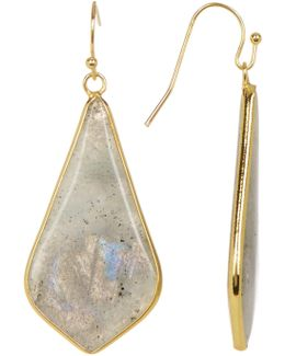 Labradorite Linear Triangle Drop Earrings