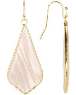 Blush Linear Stone Triangle Drop Earrings