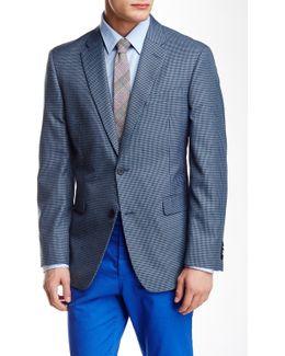 Blue Minicheck Two Button Notch Lapel Jacket
