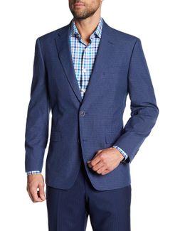 Blue Notch Lapel Two Button Checkered Plaid Sport Coat