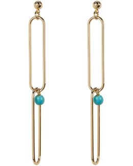 Turquoise Chain Link Dangle Earrings