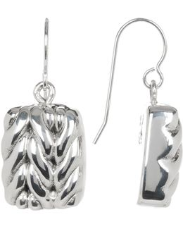 Sterling Silver Mini Braided Square Drop Earrings