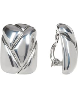 Sterling Silver Square Braided Clip-on Earrings
