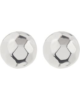 Sterling Silver Faceted Round Clip Earrings