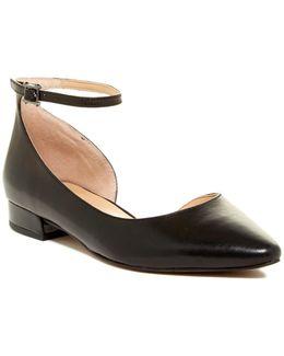 Slide Leather Ankle Strap Flat
