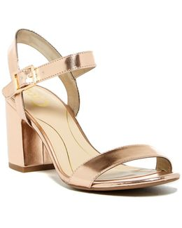 Ashton Metallic Block Heel Sandal