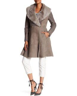 Tabitha Genuine Lamb Shearling Lined Collar Coat