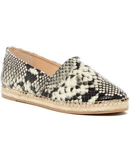 Laila Snake Embossed Faux Leather Espadrille Flat