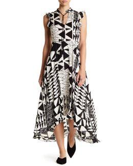 Hi-lo Print Maxi Print Dress
