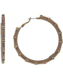 Large Swarovski Crystal Accented Hoop Earrings