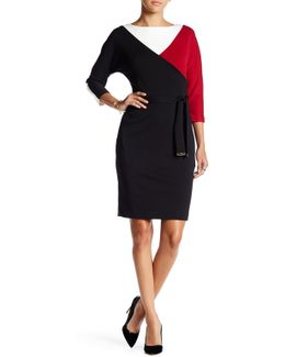 Belted Colorblock A-line Dress